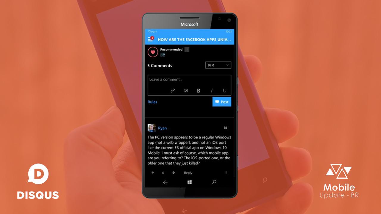 Disqus conclui a sua versão Beta para Windows 10 Mobile e orienta usuários a irem para a versão publica do App