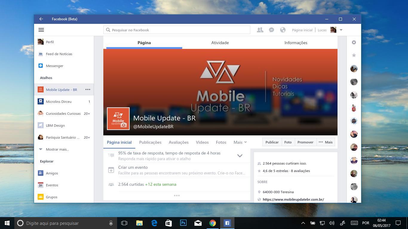 Facebook Beta para Windows 10 PC é atualizado trazendo pequenas novidades, veja: