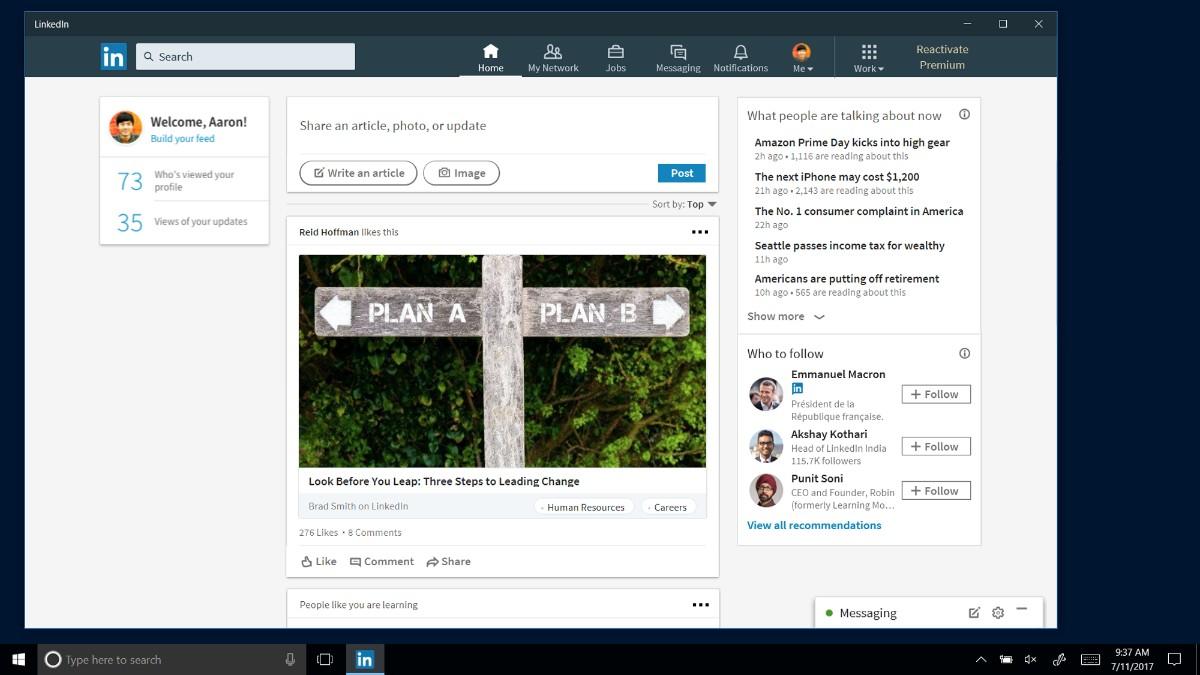 LinkedIn Oficial está chegando no Windows 10 – Mas…