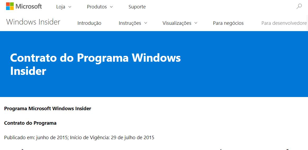 Microsoft está fazendo alterações nos termos de contrato do Programa Windows Insider, veja: