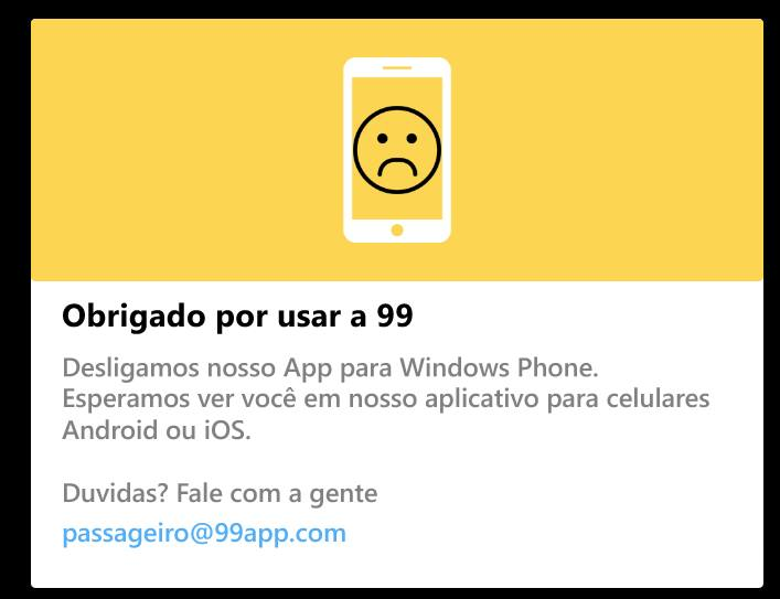 99 Taxi: App deixa a Plataforma Windows