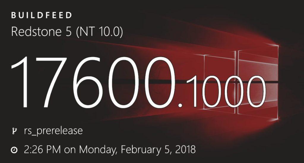 Redstone 5: Inicio da proxima grande atualização do Windows 10