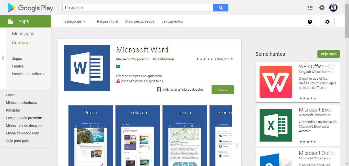 Android: Aplicativo Microsoft Word alcança 500 milhes de downloads