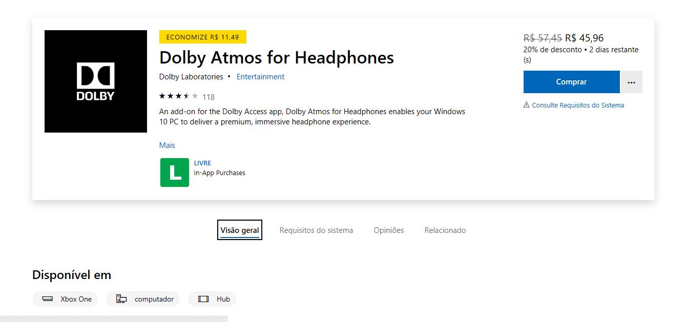 Dolby Atmos for Headphones: Aproveite o desconto na Microsoft Store!
