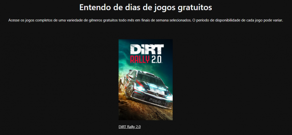 Free Play Days: DiRT Rally 2.0 é o Game dessa semana!