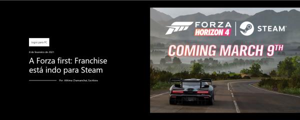 Forza Horizon 4: O jogo chegará em breve a Steam!