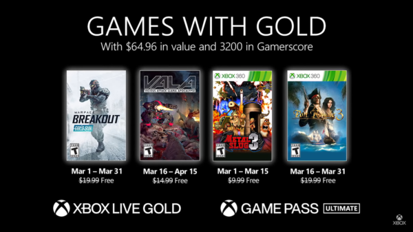 #GamesWithGold: Confira os jogos disponíveis na 2° quinzena de Março